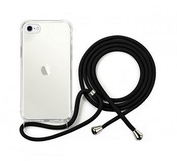 Zadní silikonový kryt na iPhone SE 2020 se šňůrkou průhledný