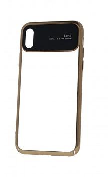 Zadní silikonový kryt na iPhone XS Lens zlatý průhledný