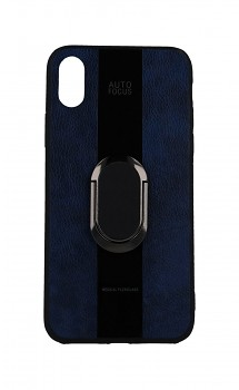 Zadní silikonový kryt Auto Focus na iPhone XS modrý s prstenem