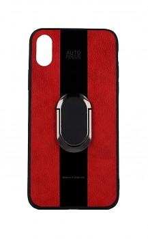 Zadní silikonový kryt Auto Focus na iPhone XS červený s prstenem