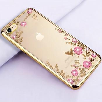 Zadní silikonový kryt na iPhone SE 2020 zlatý s růžovými květy