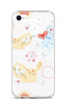 Zadní silikonový kryt na iPhone SE 2020 Happy Cats