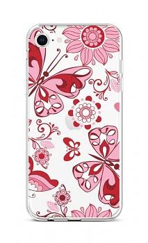 Zadní silikonový kryt na iPhone SE 2020 Pink Butterfly