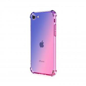 Zadní silikonový kryt na iPhone SE 2020 Shock duhový modro-růžový