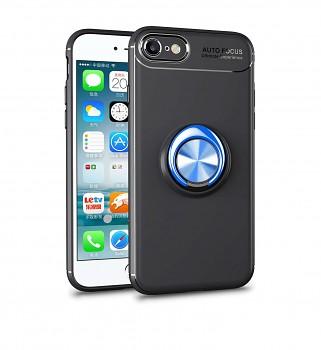 Zadní silikonový kryt na iPhone SE 2020 černý s modrým prstenem