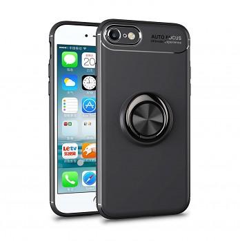 Zadní silikonový kryt na iPhone SE 2020 černý s černým prstenem