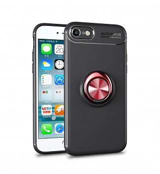 Zadní silikonový kryt na iPhone SE 2020 černý s červeným prstenem