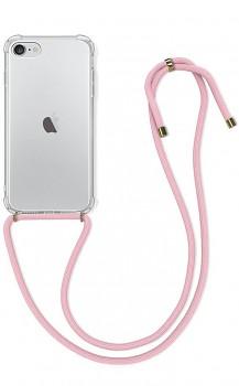 Zadní silikonový kryt na iPhone SE 2020 s růžovou šňůrkou průhledný