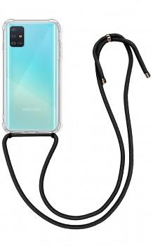 Zadní silikonový kryt na Samsung A51 s černou šňůrkou průhledný
