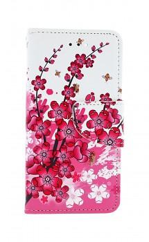 Knížkové pouzdro na iPhone SE 2020 Kytičky textil