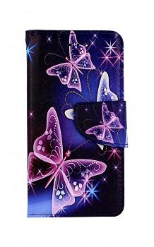 Knížkové pouzdro na iPhone SE 2020 Modré s motýlky