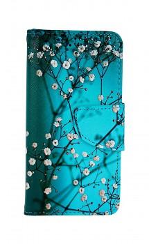 Knížkové pouzdro na iPhone SE 2020 Modré s květy