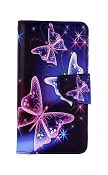 Knížkové pouzdro na iPhone 11 Modré s motýlky