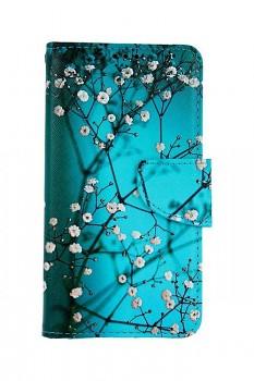 Knížkové pouzdro na iPhone 11 Modré s květy
