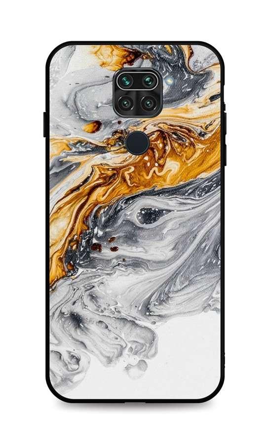 Zadní pevný kryt LUXURY na Xiaomi Redmi Note 9 Marble šedo-zlatý