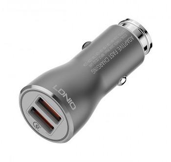 Rychlonabíječka do auta LDNIO micro USB 3.0A Dual stříbrná