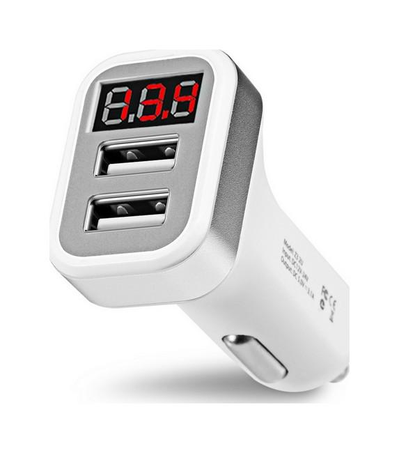 Autodobíječ HOCO Z3 Dual 3.1A s LED displejem bílý 50595