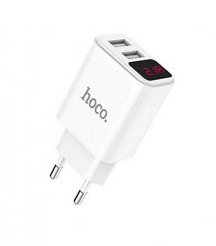 Cestovní adaptér HOCO C63A Dual 2.1A s LED displejem bílý