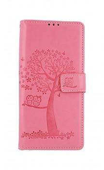 Knížkové pouzdro na Xiaomi Redmi Note 9 Pro Růžový strom sovičky