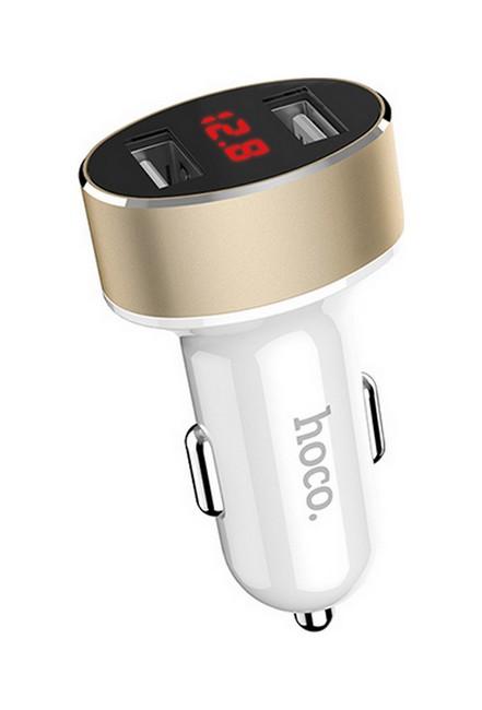 Autodobíječ HOCO Z26 Dual 2.1A s LED displejem bílo-měděný 50837