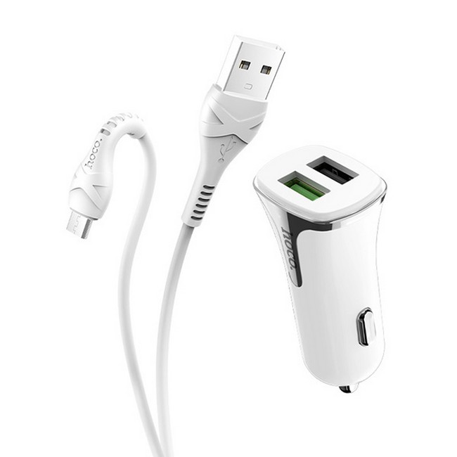 Rychlonabíječka do auta HOCO Z31 vč. datového kabelu micro USB bílá 50846