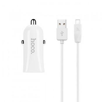 Nabíječka do auta HOCO Z12 micro USB 2.4A Dual bílá