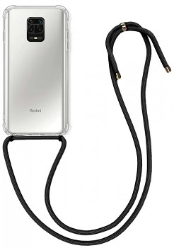 Zadní silikonový kryt na Xiaomi Redmi Note 9 PRO s černou šňůrkou průhledný