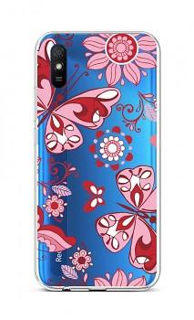 Zadní silikonový kryt na Xiaomi Redmi 9A Pink Butterfly