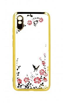 Zadní silikonový kryt na Xiaomi Redmi 9A zlatý s růžovými květy