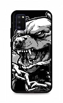 Zadní silikonový kryt DARK na Samsung A41 Agressive Pitbull