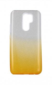 Zadní pevný kryt na Xiaomi Redmi 9 glitter stříbrno-oranžový