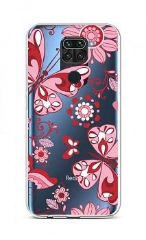 Zadní silikonový kryt na Xiaomi Redmi Note 9 Pink Butterfly