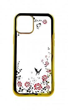 Zadní silikonový kryt na iPhone 12 zlatý s růžovými květy