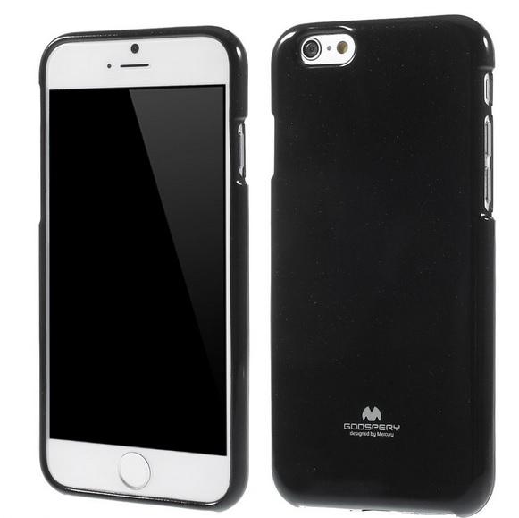Pouzdro Mercury Jelly Case černé třpytivé pro iPhone 6 / 6S