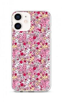 Zadní silikonový kryt na iPhone 12 mini Pink Bunnies