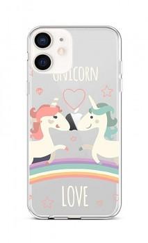 Zadní silikonový kryt na iPhone 12 mini Unicorn Love