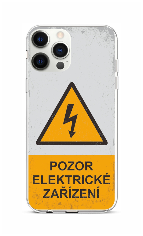 Zadní silikonový kryt na iPhone 12 Pro Max Pozor elektrické zařízení