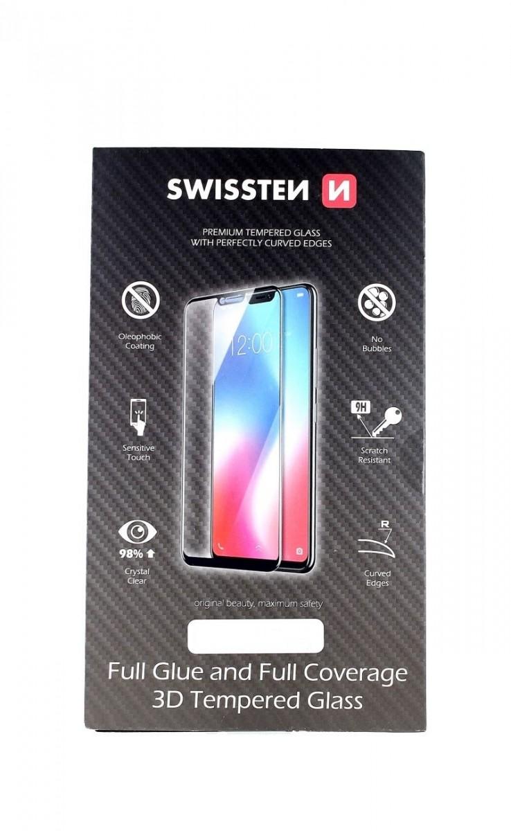 Tvrzené sklo Swissten iPhone 12 3D zahnuté černé 53635 (ochranné sklo iPhone 12)