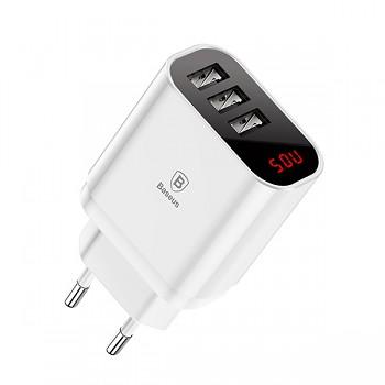 Cestovní adaptér Baseus Mirror Lake se třemi USB porty s digitálním displejem 3.4A bílý