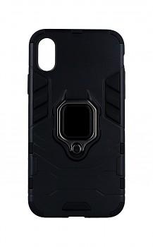 Ultra odolný zadní kryt na iPhone X černý s prstenem