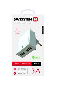 Cestovní adaptér Swissten Dual Smart IC 3A bílý