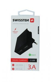 Cestovní adaptér Swissten Dual Smart IC 3A černý
