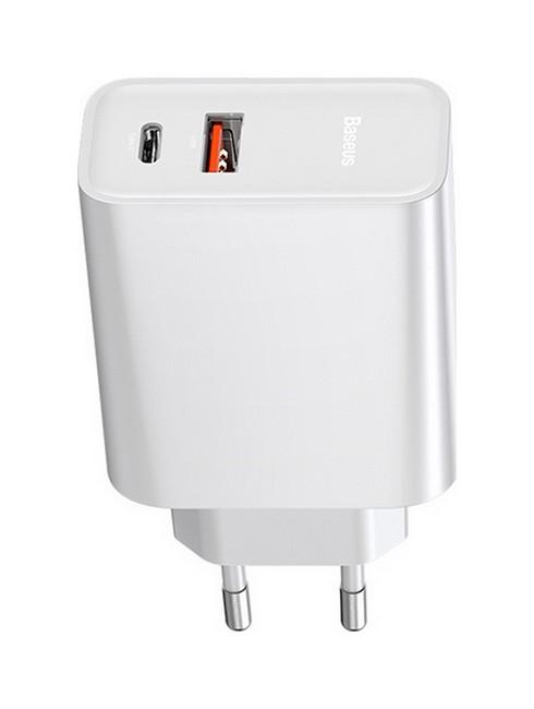 Cestovní adaptér Baseus CCFS-C02 s funkcí rychlonabíjení Dual (USB + USB-C) bílý 53863