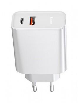 Cestovní adaptér Baseus CCFS-C02 s funkcí rychlonabíjení Dual (USB + USB-C) bílý