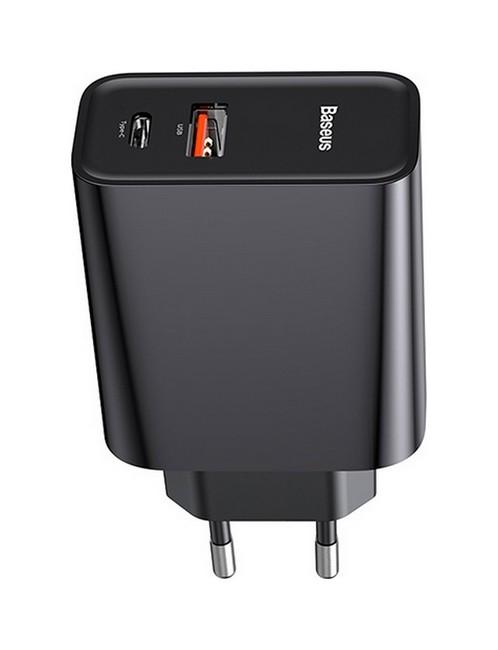 Cestovní adaptér Baseus CCFS-C01 s funkcí rychlonabíjení Dual (USB + USB-C) černý 53867