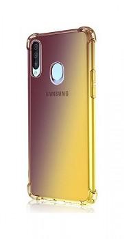 Zadní silikonový kryt na Samsung A20s Shock duhový purpurovo-žlutý