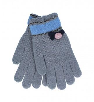 Dotykové rukavice pro mobilní telefon Mašlička šedé vel. S