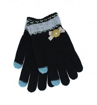 Dotykové rukavice pro mobilní telefon Mašlička černé vel. S