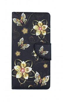 Knížkové pouzdro na iPhone SE 2020 Zlaté květy