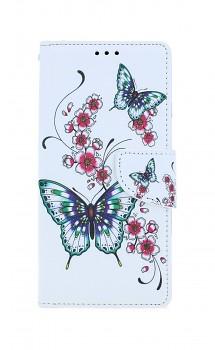 Knížkové pouzdro na iPhone SE 2020 Motýlci s květinou